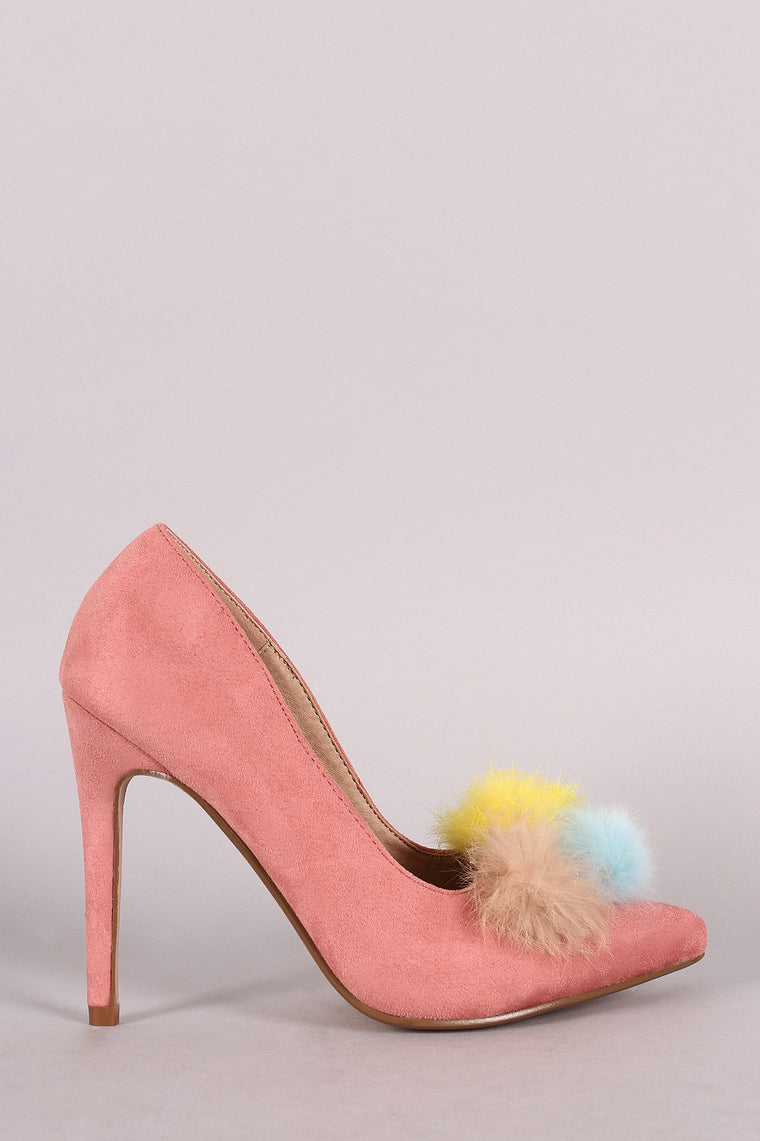 Multi Colored Pom Pom Suede Pointed Toe Heels - duzuu