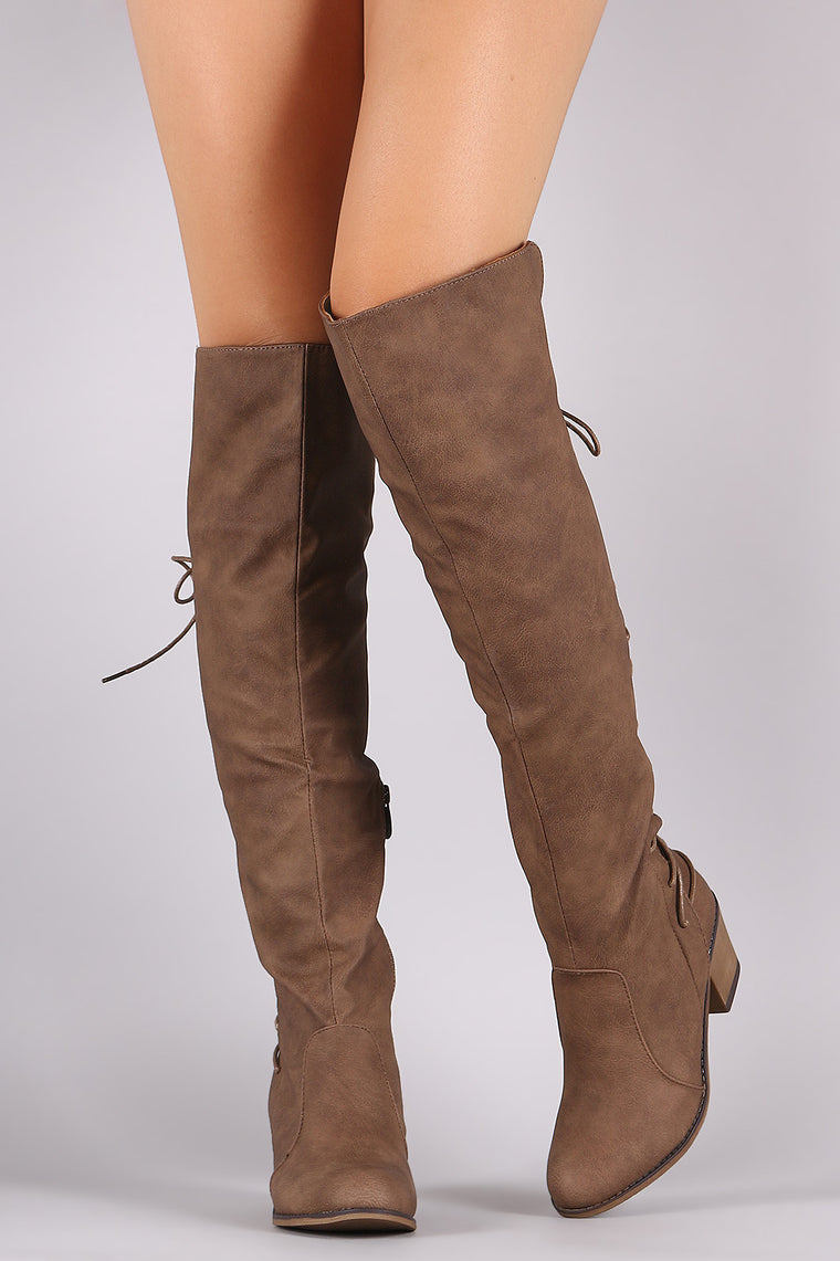 Back Corset Lace Up Chunky Heeled Over-The-Knee Boots - duzuu