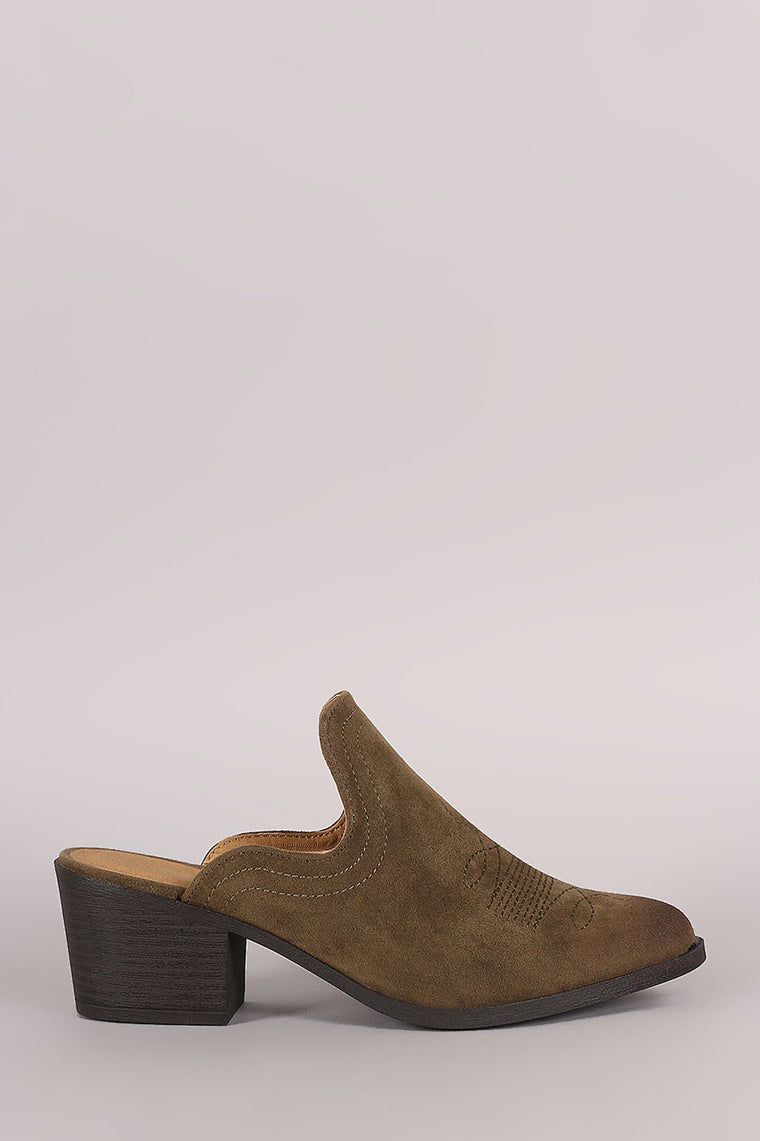 Qupid Suede Embroidery Mule Blocked Heel - duzuu