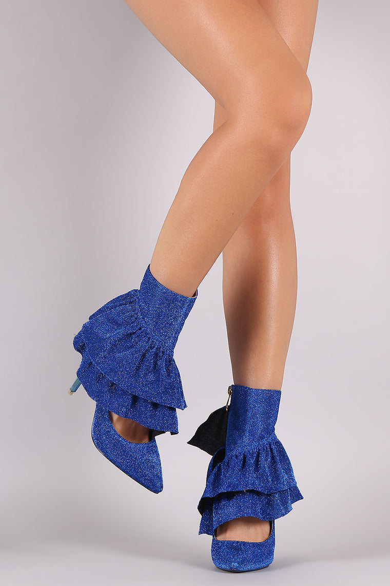 Glitter Tierd Ruffle Cutout Pointy Toe Stiletto Booties - duzuu