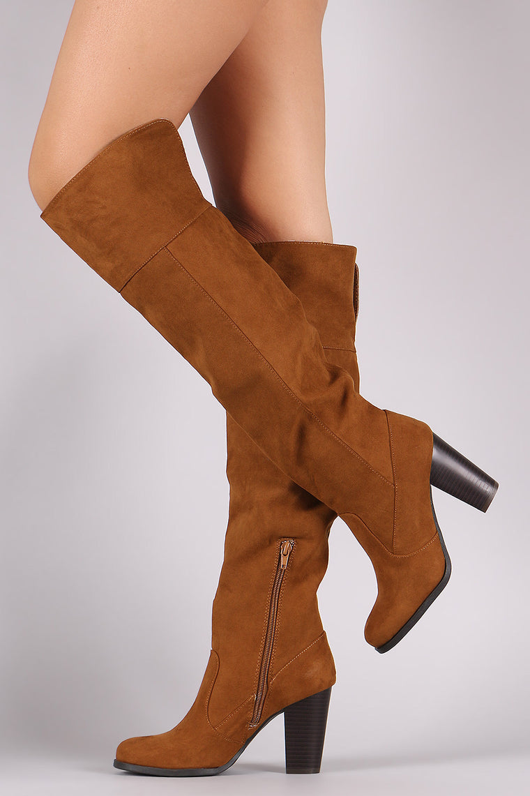 Bamboo Suede Chunky Heeled Western Boots