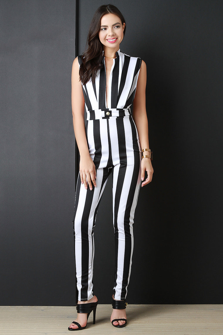 Contrast Stripped Sleeveless Jumpsuit - duzuu