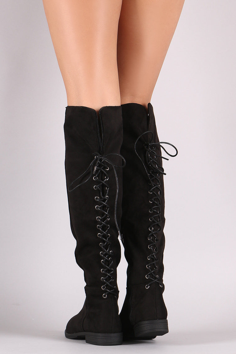 Bamboo Faux Suede Lace Back Knee High Boots - duzuu