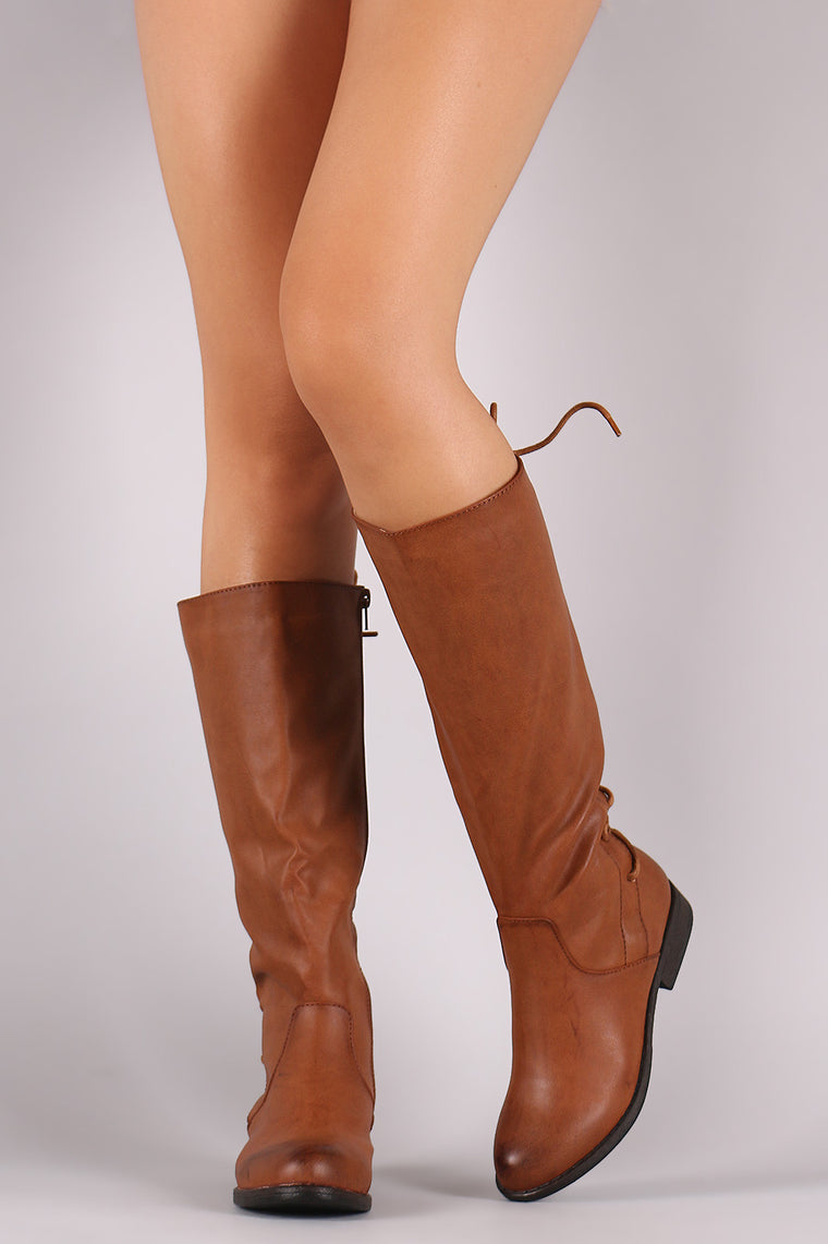 Bamboo Back Lace-Up Riding Knee High Boots - duzuu