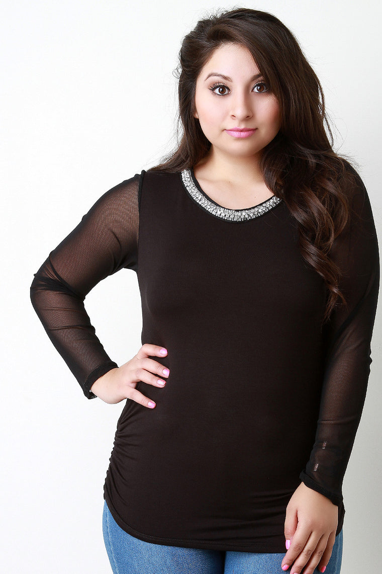 Crystals and Beads Round Neck Mesh Sleeves Top - duzuu