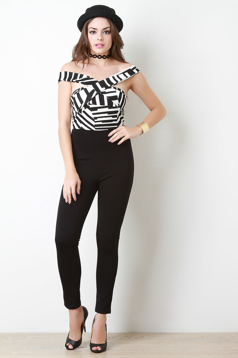 Abstract Crisscross Bardot Contrast Jumpsuit - duzuu