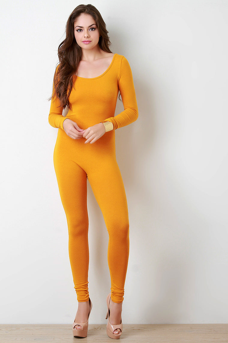 Jersey Scoop Neck Long Sleeves Jumpsuit - duzuu