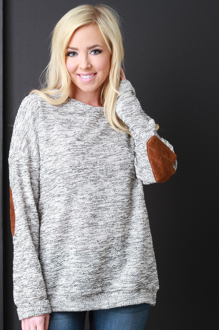 Cozy Quilted Elbow Knit Sweater - duzuu