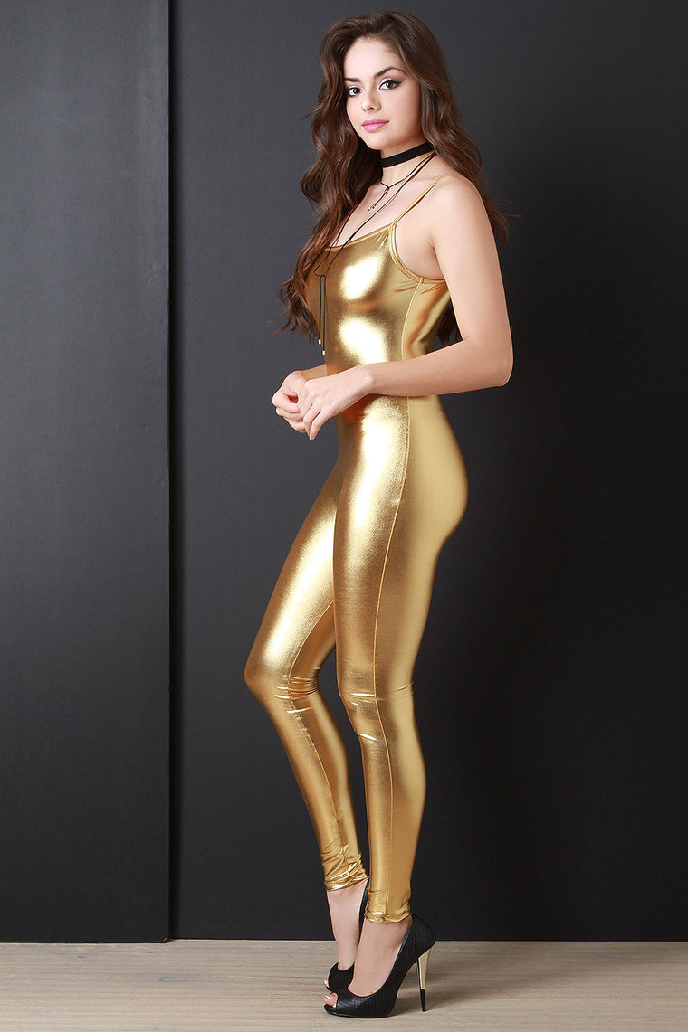 Metallic Sleeveless Stretch Jumpsuit - duzuu
