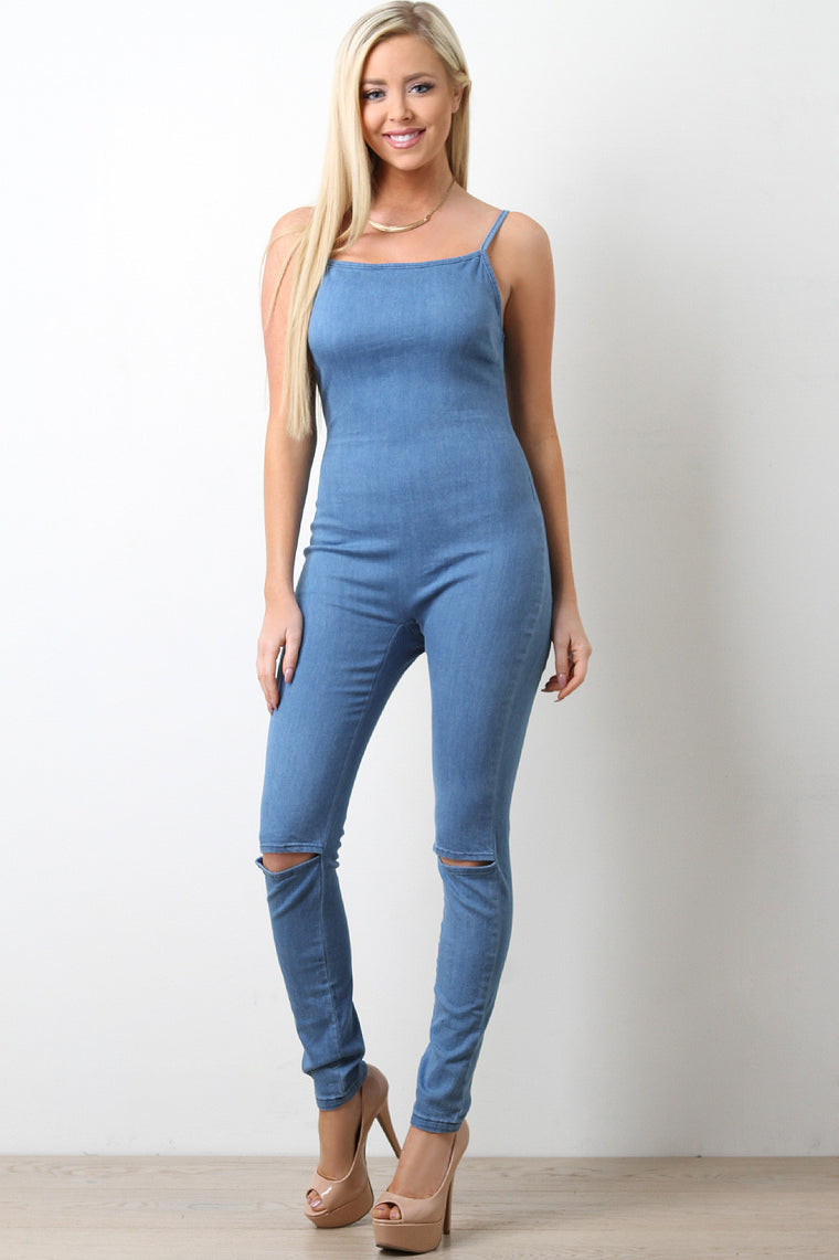 Denim Square Neck Spaghetti Strap Knee Slit Jumpsuit