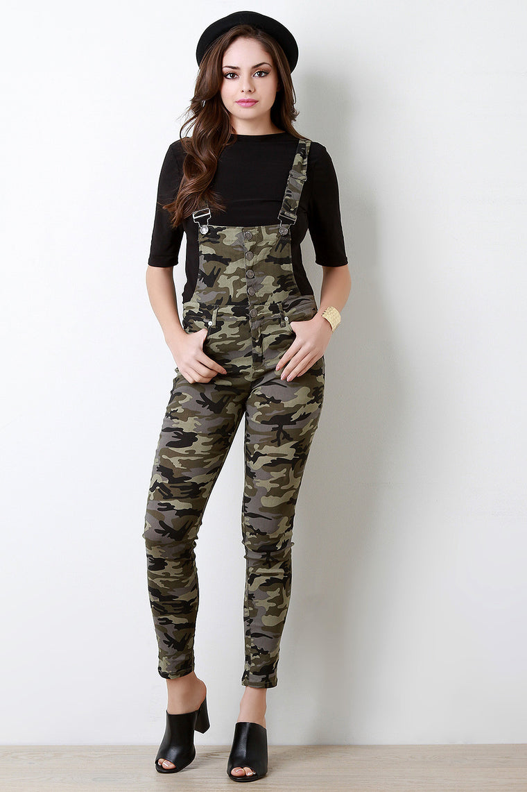 Military Camo Button-Up Pocketed Overalls - duzuu