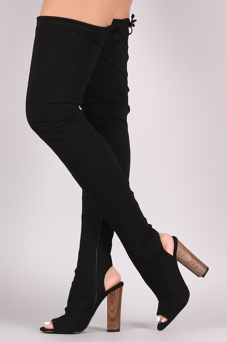 Liliana Stretched Jersey Chunky Heel Over-The-Knee Boots - duzuu