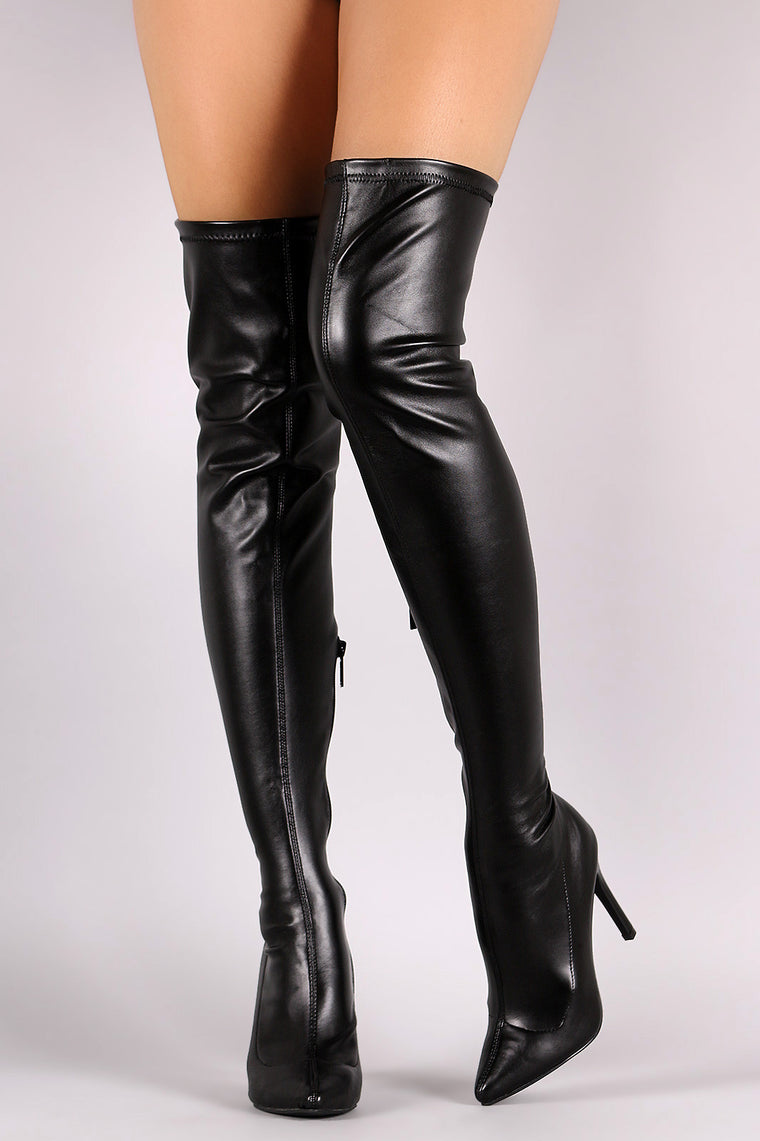 Breckelle Stretch Leather Pointy Toe Stiletto Heel Boots - duzuu