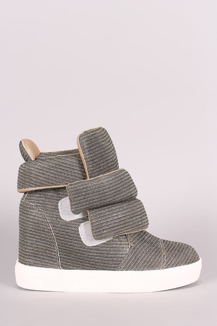 Shimmer Double Straps High Top Wedge Sneaker - duzuu