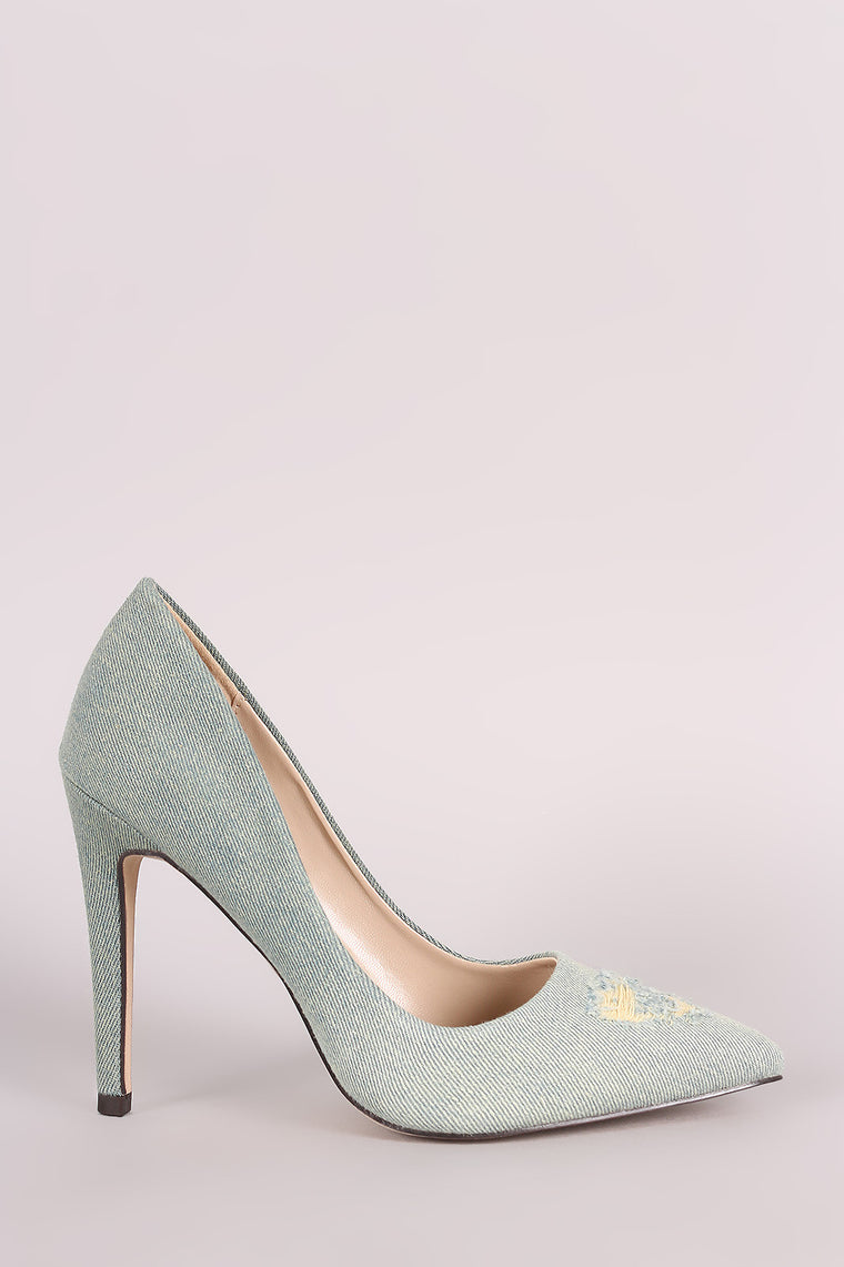Destroyed Denim Pointy Toe Stiletto Pump - duzuu