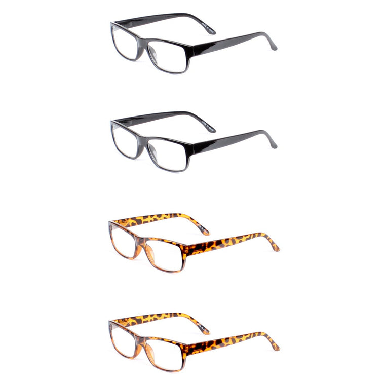 Classic Rectangle Reading Glasses 4 Pair Pack