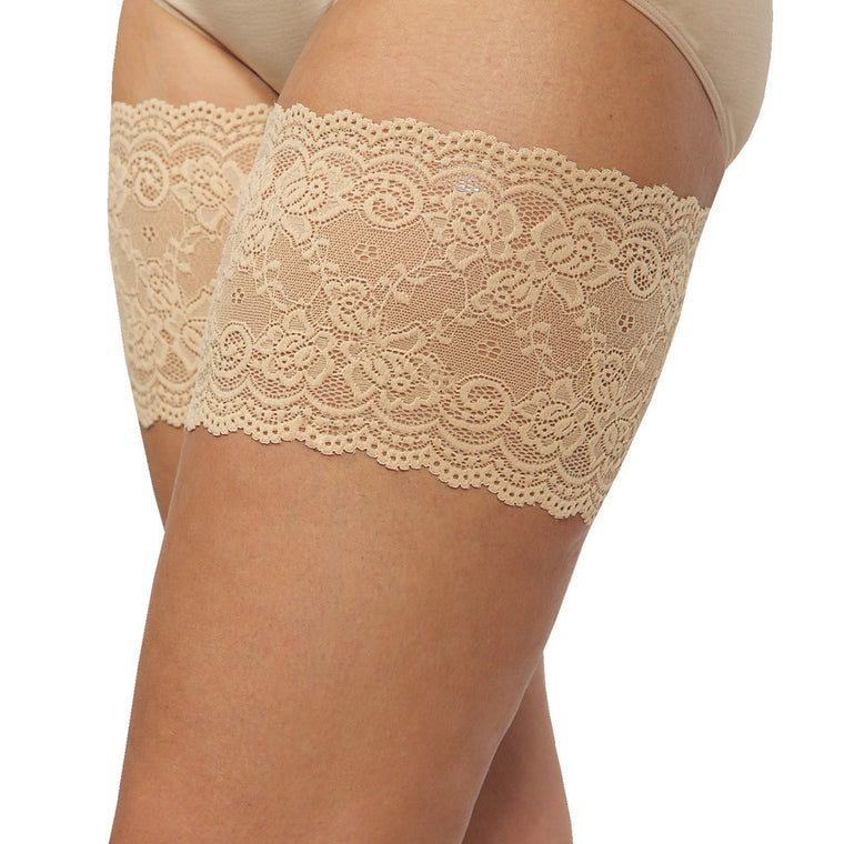 "Bandelettes ONYX BEIGE - Elastic Anti-Chafing Thigh Bands Beige Onyx 5.5"" in length"