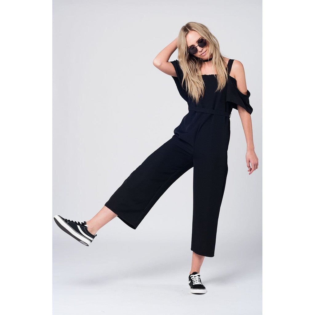 Black midi jumpsuit with cold shoulders
