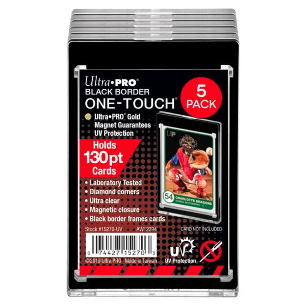 ULTRA PRO ONE TOUCH - 130PT UV Black Border w/Magnetic Closure 5 PACK