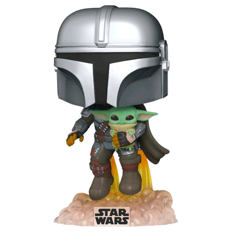 Star Wars: The Mandalorian - Mandalorian with the Child Jetpack Flying | FUNKO POP! Vinyl