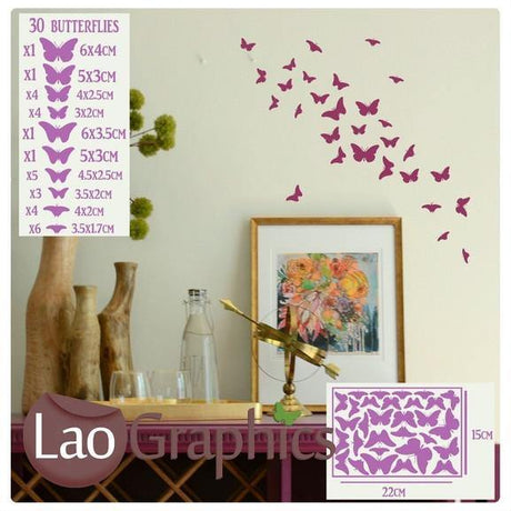 30pc Butterflies pack Girls Bedroom Wall Stickers Home Decor Art Decals-LaoGraphics