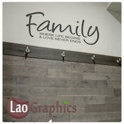 Family where life begins Home Decor Art Decals