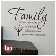 Family like branches on a tree Home Decor Art Decals