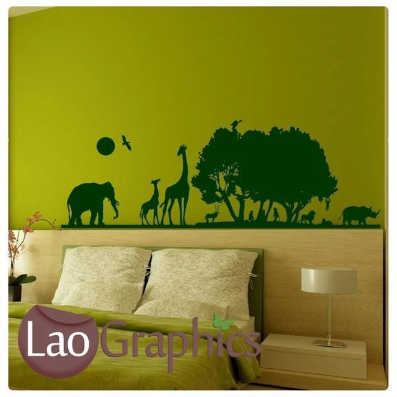 African Landscape City Scape Wall Stickers Home Decor Large Art Decals-LaoGraphics