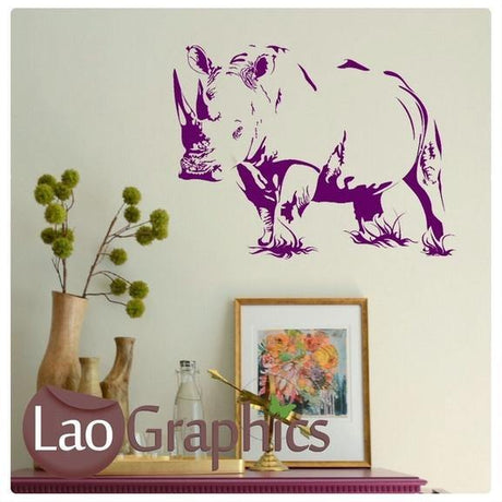 African Rhino Wild Animal Wall Sticker Home Decor Africa Art Decals UK-LaoGraphics