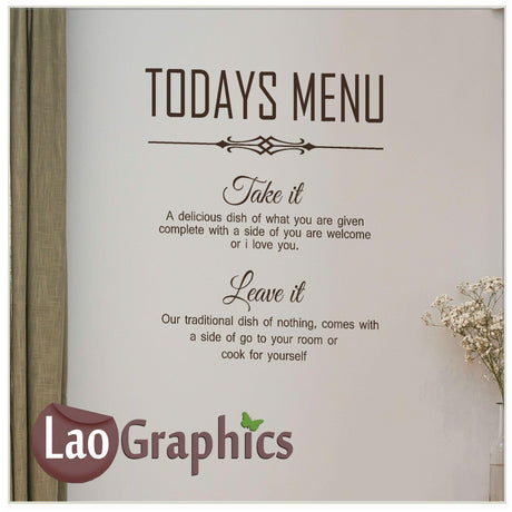 Todays menu Home Decor Art Decals