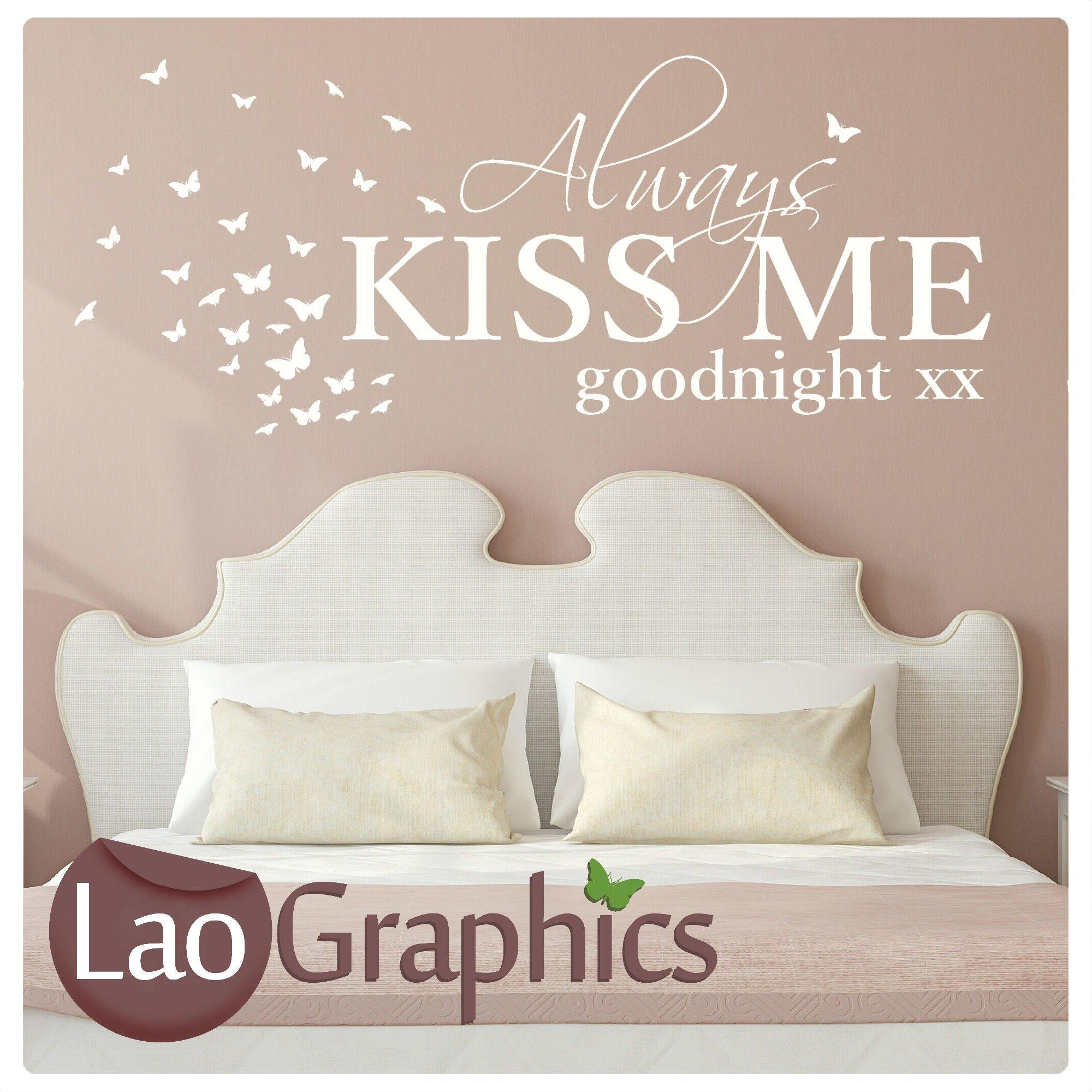 Always Kiss Me Goodnight Bedroom Wall Stickers Home Art Decal ...