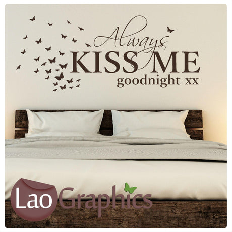 Always Kiss Me Goodnight Bedroom Wall Stickers Home Art Decal Transfers-LaoGraphics
