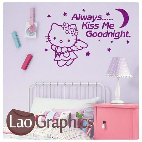 Always kiss me goodnight Hello Kitty Girls Quote Wall Stickers Home Decor Art Decals-LaoGraphics