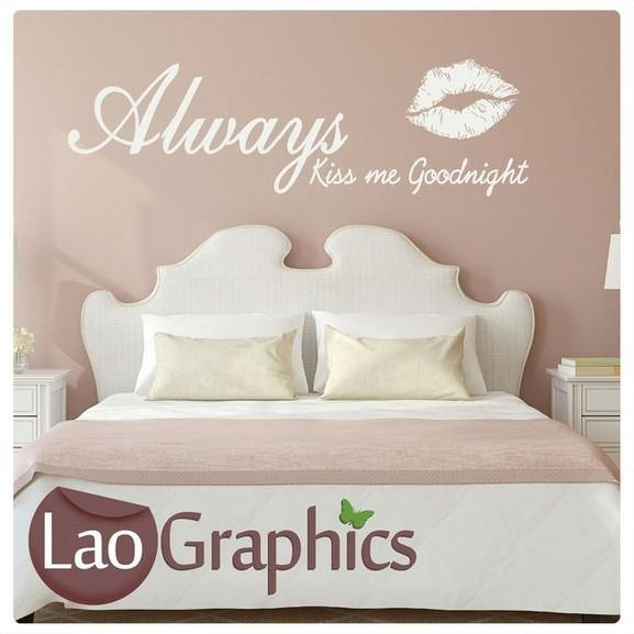 Always Kiss me Goodnight Quote Girls Room Wall Stickers Home Decor Art  Decals