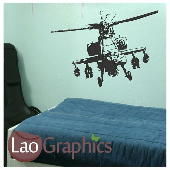 Apache Helicopter Military & Army Wall Stickers Home Decor Art Decals-LaoGraphics