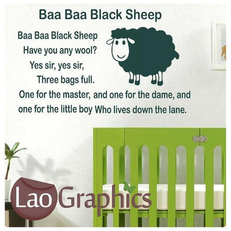 Baa Baa Black Sheep Wall Stickers Home Decor Nursery Rhyme Art Decals-LaoGraphics