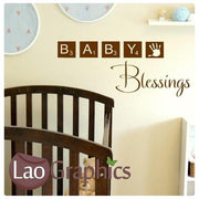 Baby Blessings Nursery Quote Wall Stickers Home Decor Art Decals UK-LaoGraphics