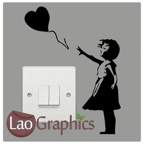 Banksy Girl Light Switch Street Art Decals Home Decor Wall Stickers-LaoGraphics