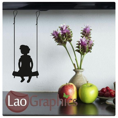 Bargain Boy on a Swing Childrens Nursery Wall Stickers Home Decor Art Decals-LaoGraphics