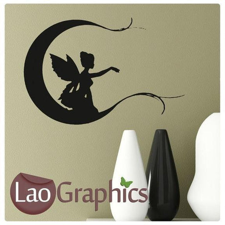 Bargain Fairy & Moon Girls Bedroom Wall Stickers Home Decor Art Decals-LaoGraphics