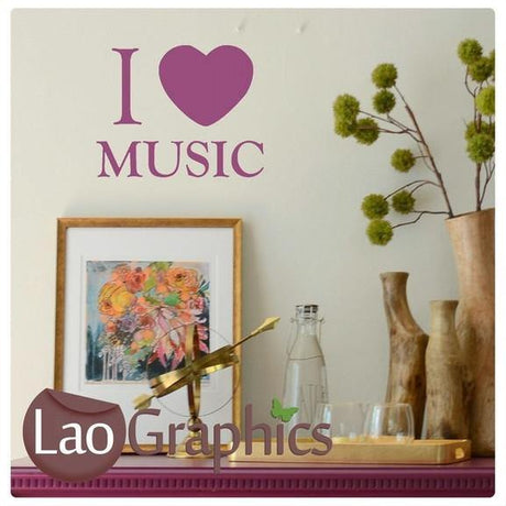 Bargain I Love Music Quote Cheap Wall Stickers Home Decor Art Decals-LaoGraphics