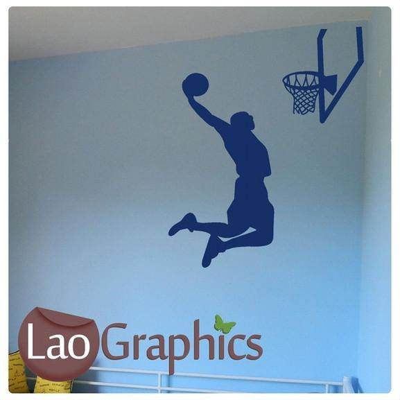 Basketballer & Net Boys Sports Wall Stickers Home Decor Art Decals-LaoGraphics