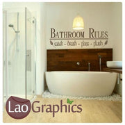 Bathroom Rules #2 Bath Quote Wall Stickers Home Decor Large Art Decals-LaoGraphics