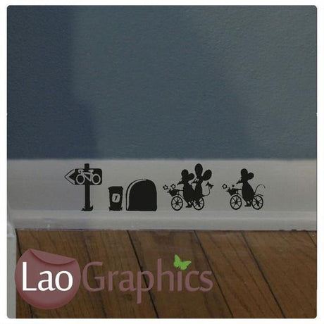 Bike Riding Mice Set Mouse Door Home Decor Skirting Wall Stickers Art Decals-LaoGraphics