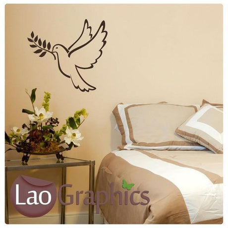 Bird & Olive Branch Wall Sticker Home Decor Modern Nature Art Decals-LaoGraphics