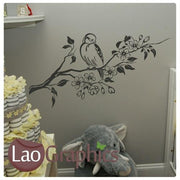 Bird on a Branch Decorative Nature Wall Stickers Home Decor Art Decals-LaoGraphics