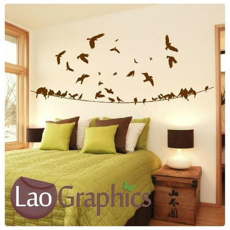 Birds on a Powerline Modern Birds Wall Stickers Home Decor Art Decals-LaoGraphics