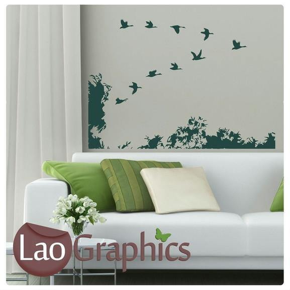 birds scene wall stickers home decor large nature art decals