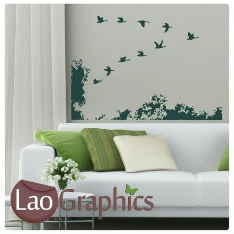 Birds Scene Wall Stickers Home Decor Large Nature Art Decals Transfers-LaoGraphics