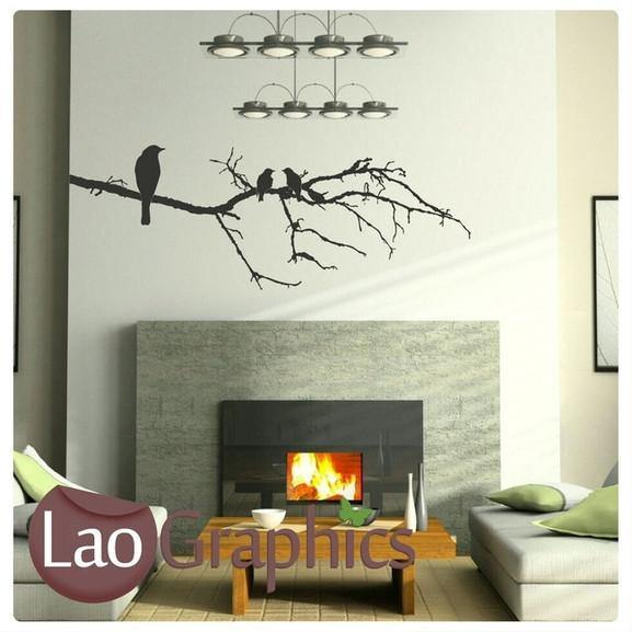 Birds Tree Branch 7 Decorative Nature Wall Stickers Home Decor Art Decals LaoGraphics